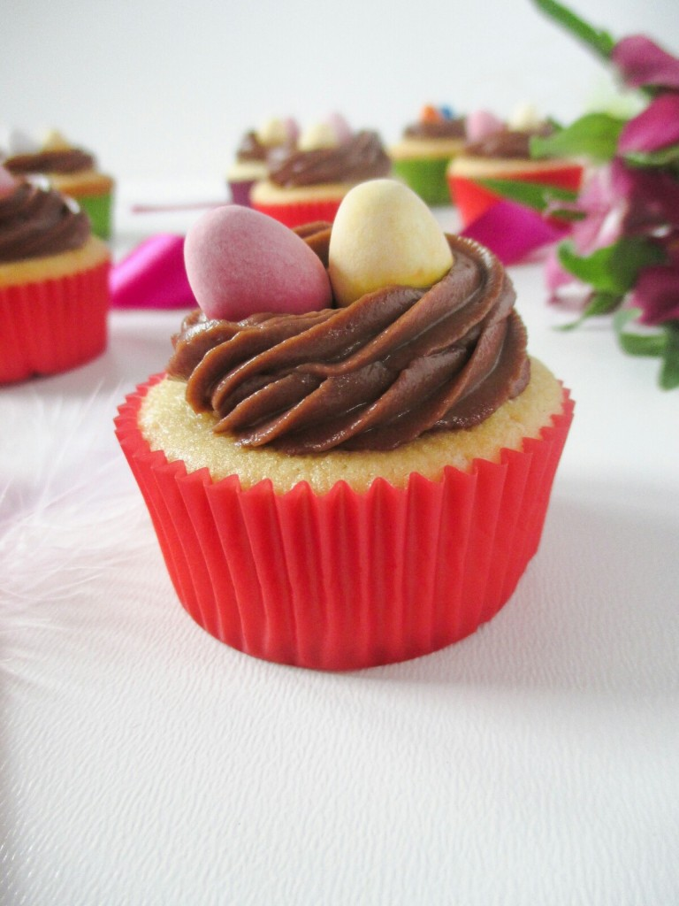 easter nest cupcakes with easter chocolate eggs
