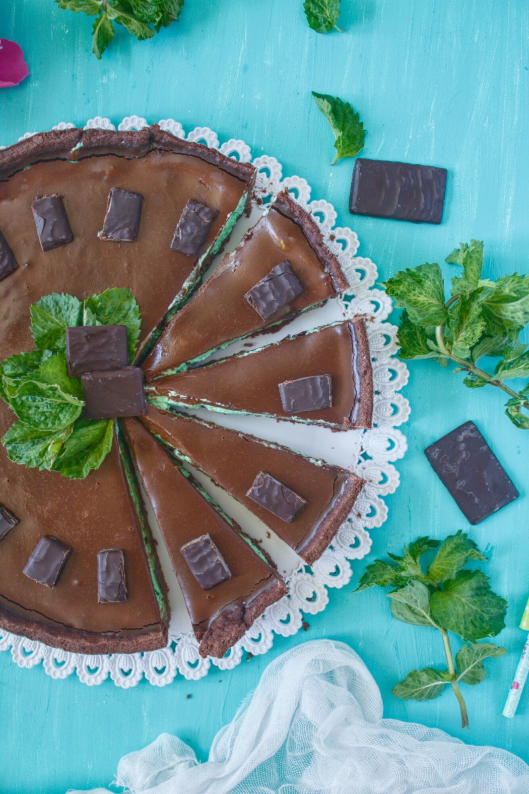čokoládovo - mätový tart