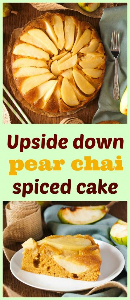 obrátený hruškový koláč s korením chai
