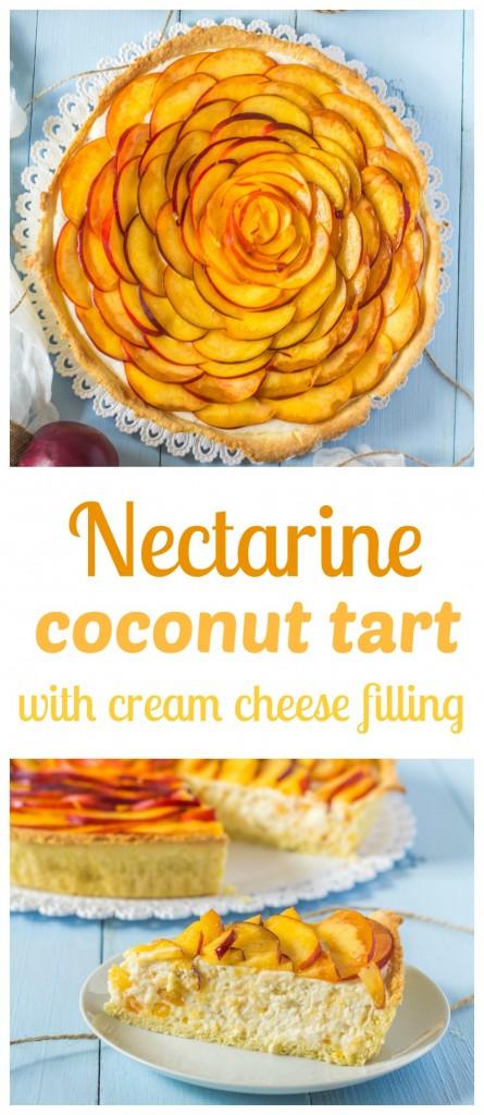 nektarinkový tart s kokosom a tvarohovo - šľahačkovou plnkou