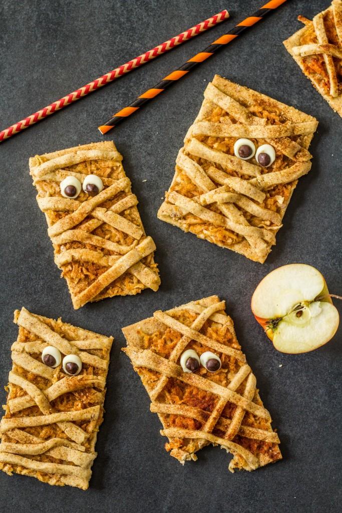 jablkovo-škoricové halloweenske múmia cookies