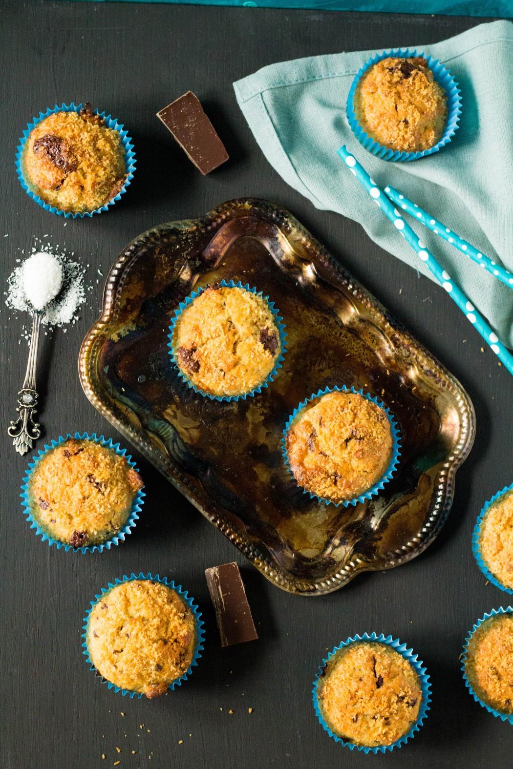 kokosovo - banánové muffiny s čokoládou