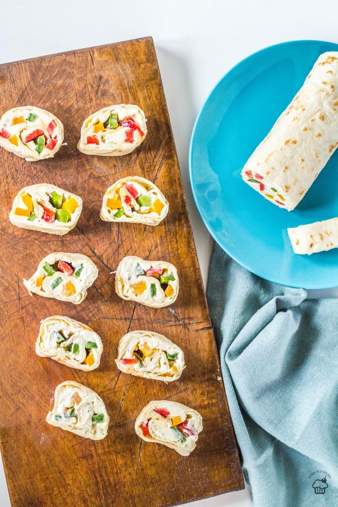 Farebné vegetariánske tortillové rolky