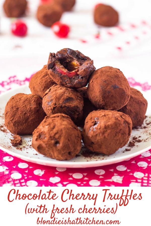 Čokoládovo čerešňové truffles guľky pin