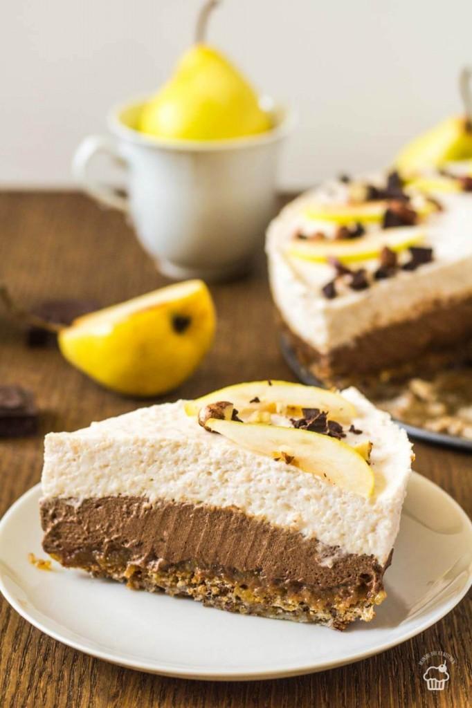 čokoládovo hrušková mousse torta