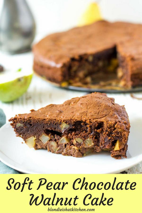 Krémový hruškový koláč s čokoládou a vlašskými orechami pin