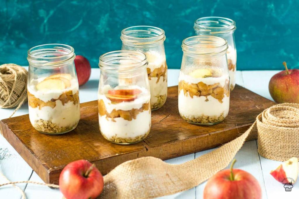 jablkovo tvarohové poháre s ovsenými vločkami