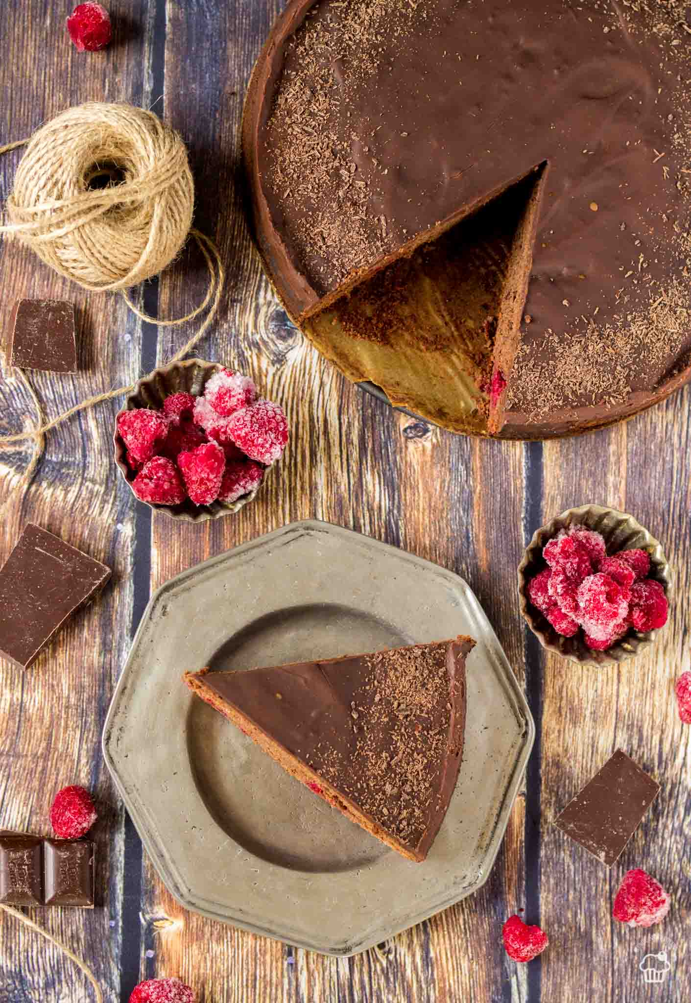 rýchly čokoládový koláč s malinami