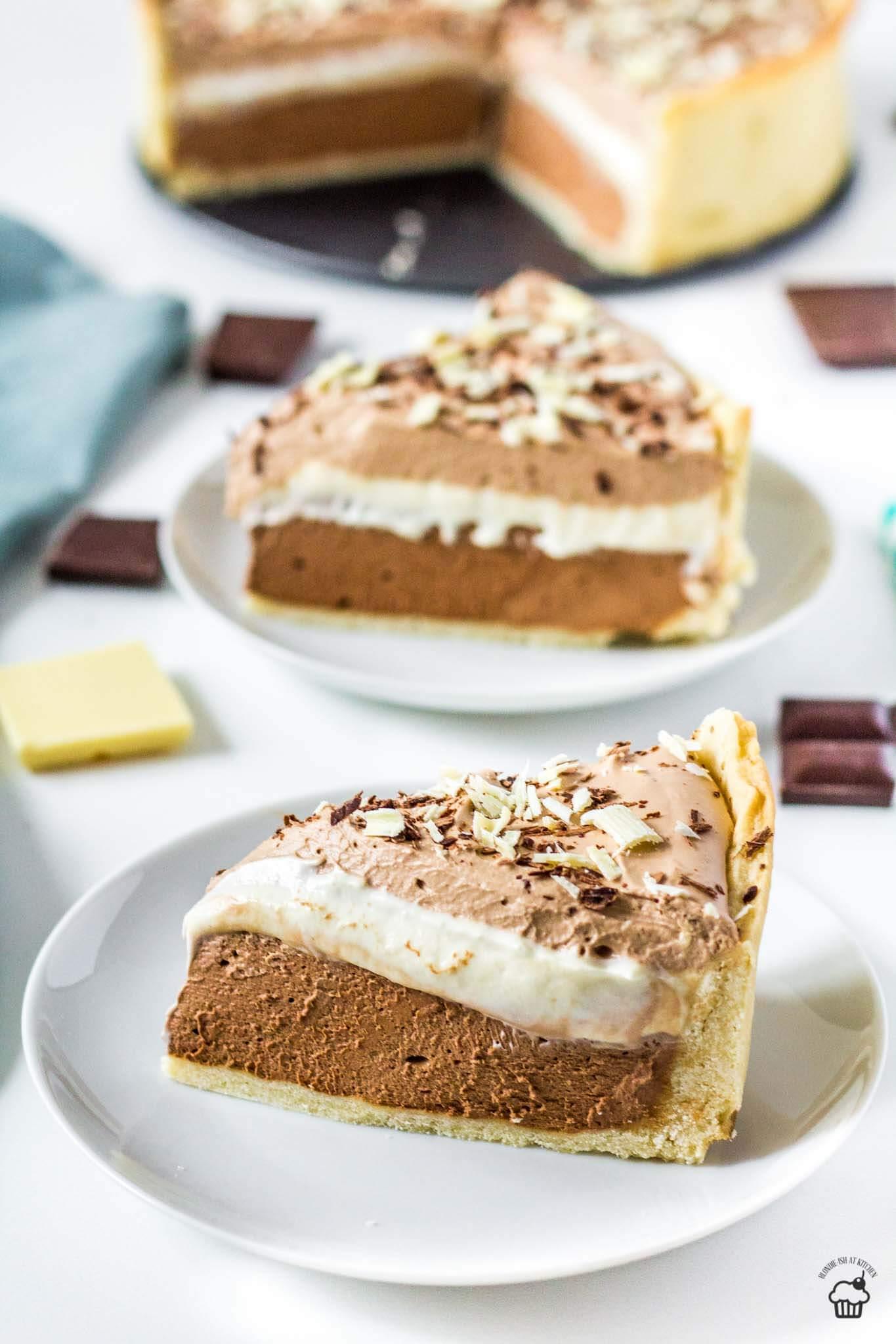 trojčokoládový mousse tart