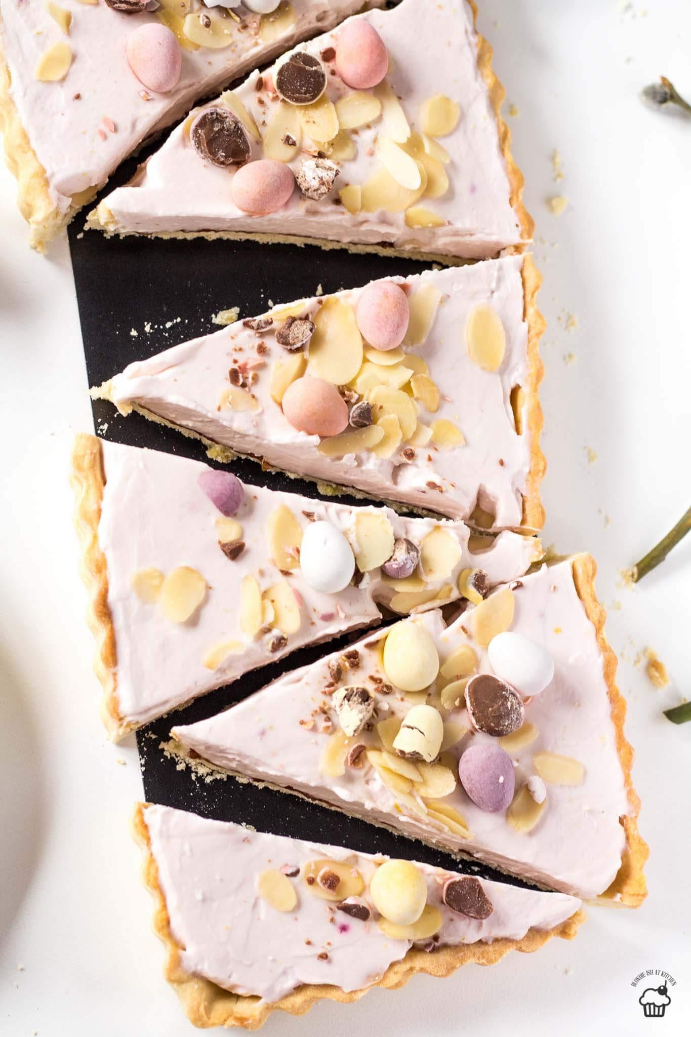 Veľkonočný ružový malinový tart