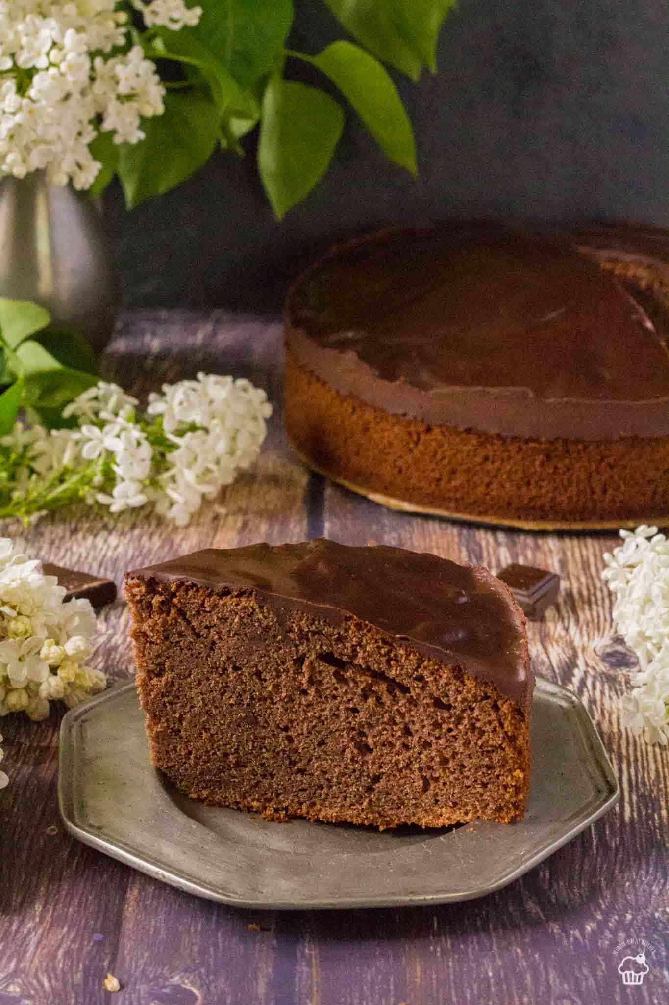 jednoduchý a vysoký kakaový koláč s jogurtom