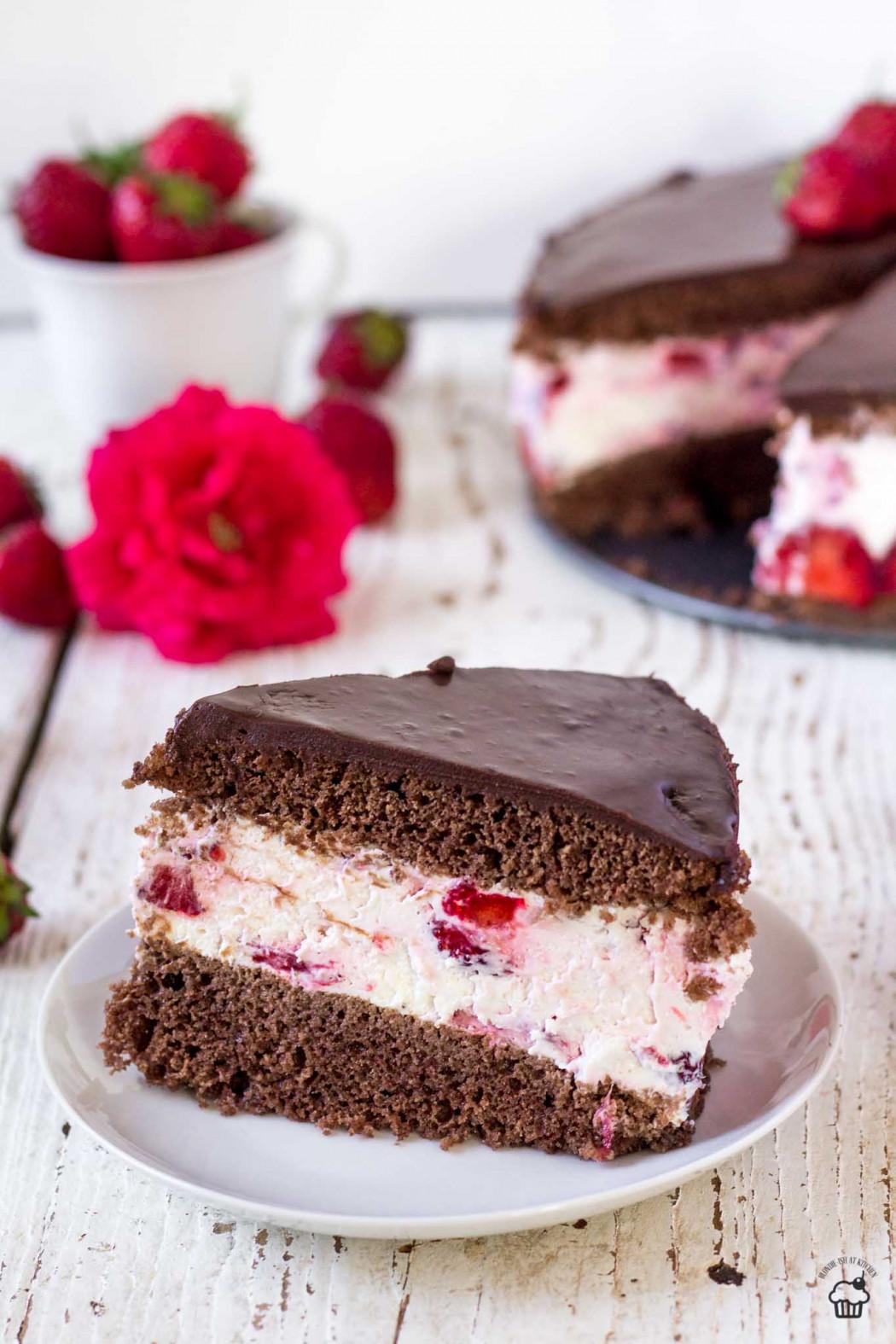 jahodová kakaovo tvarohová torta