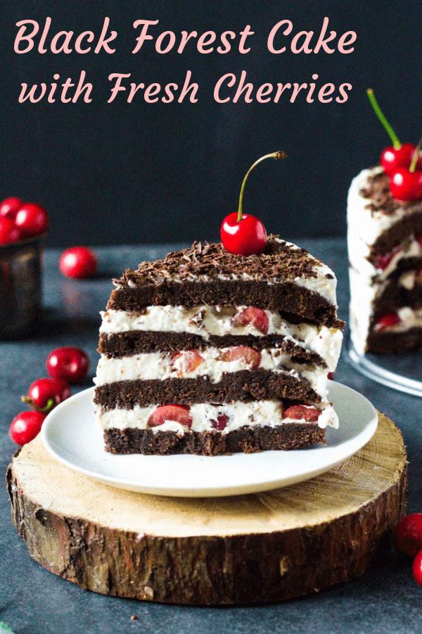 torta čierny les s čerstvými čerešňami