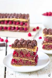 čokoládové mille feuille s malinami