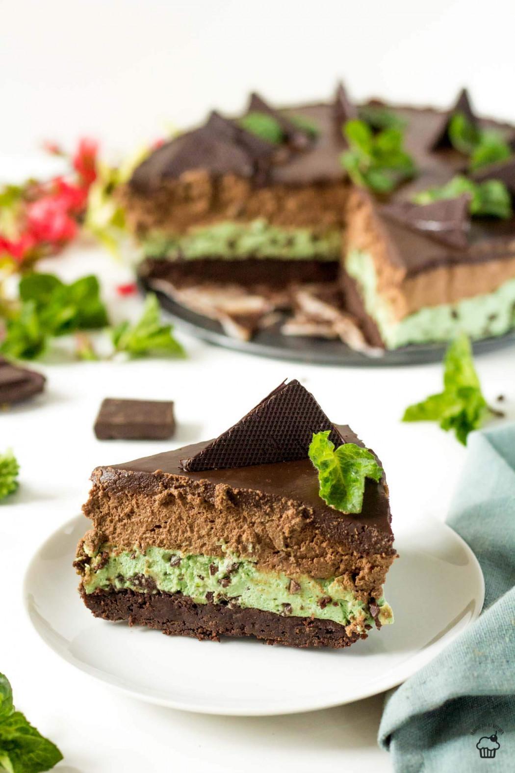 čokoládovo mätová brownie mousse torta