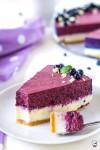 cheesecake z bielej čokolády s čučoriedkovým mousse