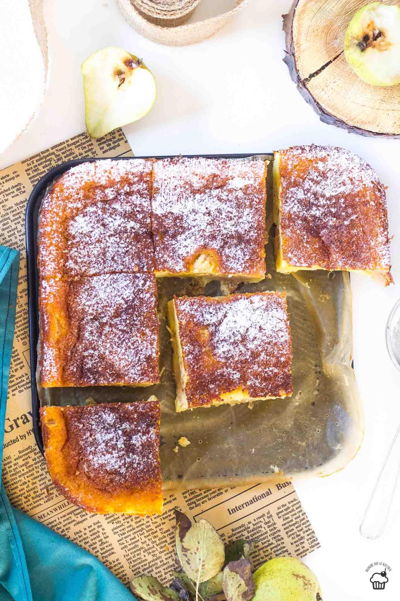 tvarohový koláč s hruškami
