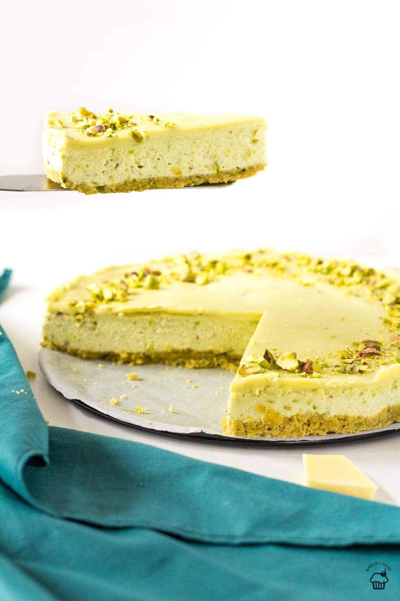 nepečený pistáciový cheesecake