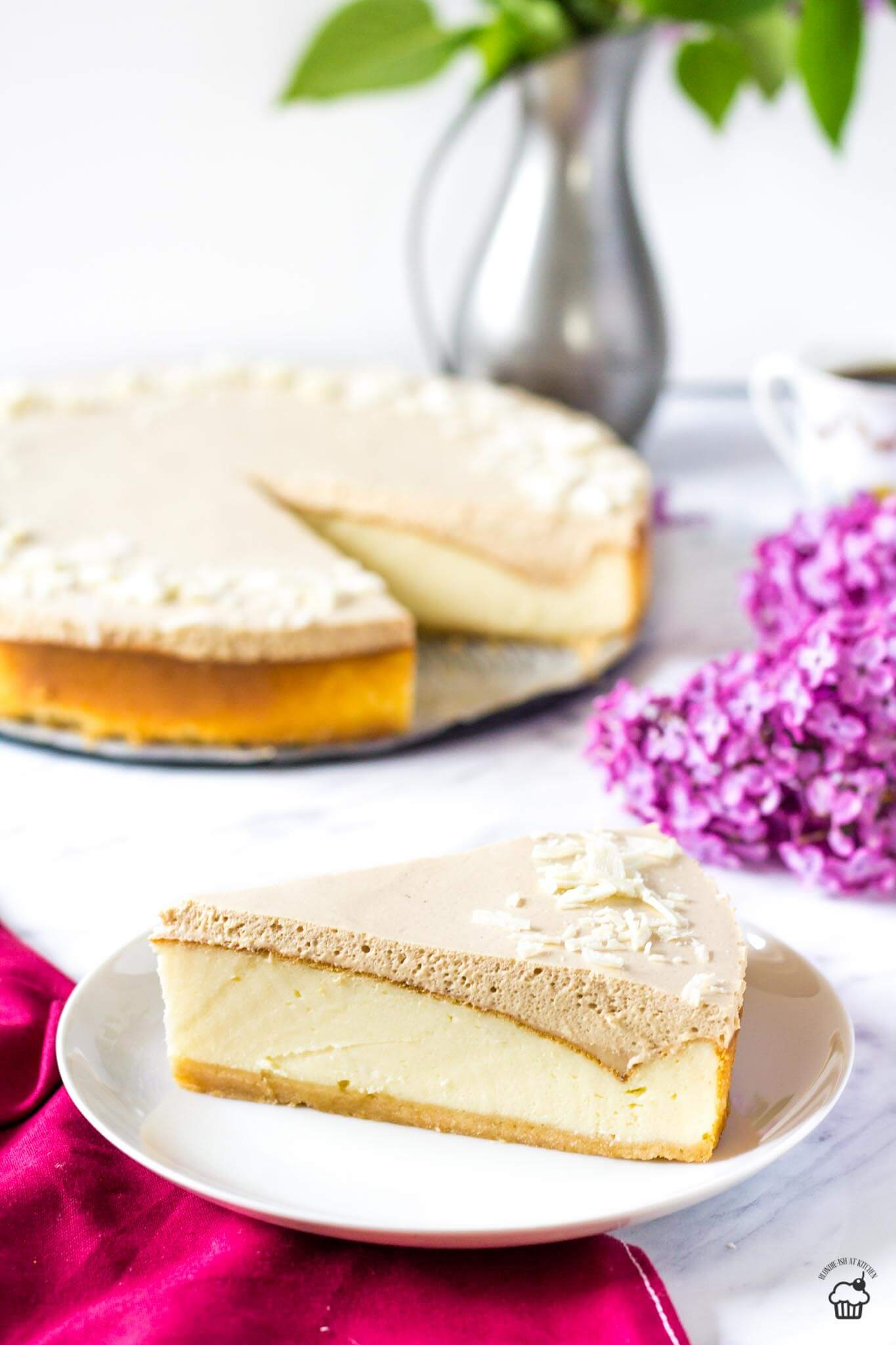 vanilkový cheesecake s kávovým mousse